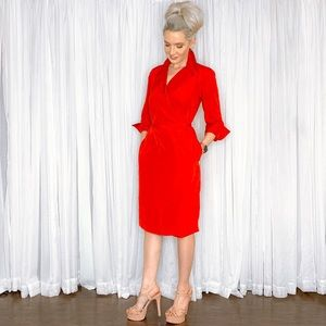 Lands' End Dresses - Delta Red Classy Long Sleeve Cocktail Dress